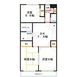 西武国分寺線 恋ヶ窪駅 徒歩5分の賃貸マンション 3階3DKの間取り