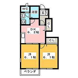 キャッスル岩下II[1階]の間取り