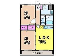 愛媛県松山市余戸南3丁目の賃貸マンションの間取り