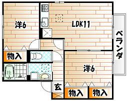 ル・クレールやつえB棟[2階]の間取り