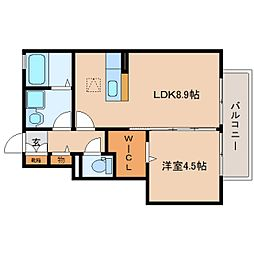 静岡県静岡市駿河区敷地1丁目の賃貸アパートの間取り