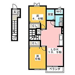 ソレイユ東海A[2階]の間取り