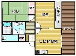 ハイツファミールB棟[2階]の間取り