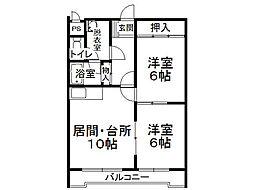 171マンションC棟[201号室]の間取り