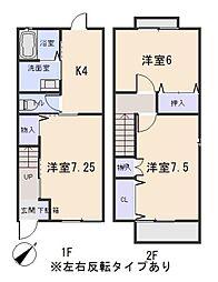 愛知県岡崎市日名南町の賃貸アパートの間取り
