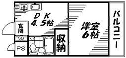 Osaka Metro谷町線 守口駅 徒歩9分の賃貸マンション 2階1DKの間取り