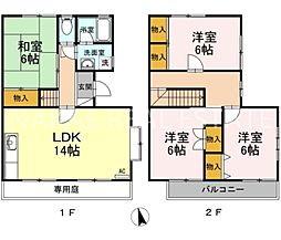 [テラスハウス] 徳島県徳島市八万町上福万 の賃貸【/】の間取り