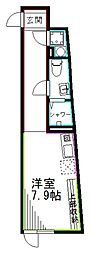 JR総武線 阿佐ヶ谷駅 徒歩6分の賃貸マンション 4階ワンルームの間取り