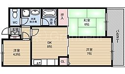クレアコート[6階]の間取り