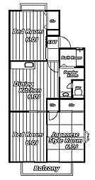 サニータウンB[1階]の間取り