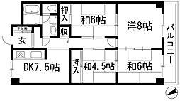 ローズハイツ宝塚[9階]の間取り