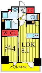 プレミスト板橋 13階1LDKの間取り