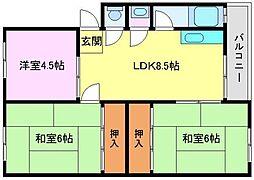取石石田団地[3階]の間取り