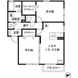 青森県八戸市南白山台2の賃貸アパートの間取り