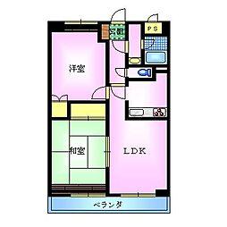 エスポワール大島 7階2LDKの間取り