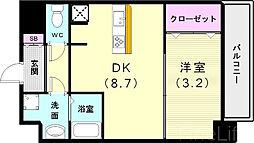 神戸市西神・山手線 新長田駅 徒歩3分の賃貸マンション 9階1DKの間取り
