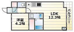 レジディア千里藤白台 4階1LDKの間取り