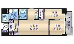 サニーハウス天満橋[4階]の間取り