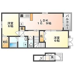JR吉備線 足守駅 徒歩11分の賃貸アパート 2階2LDKの間取り