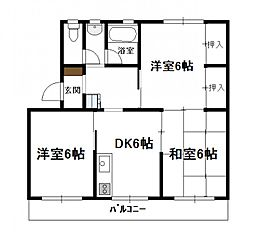 コーポかのう(3DK)[B102号号室]の間取り