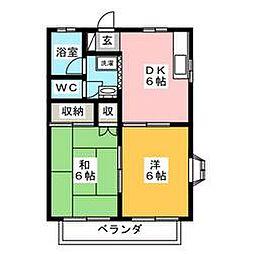 栃木県宇都宮市兵庫塚2丁目の賃貸アパートの間取り