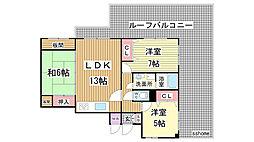 コート岡本[3階]の間取り