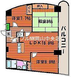 岡山県岡山市北区富田丁目なしの賃貸マンションの間取り