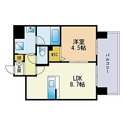 モダンパラッツォ天神南リーフ 10階1LDKの間取り