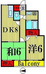 クリスタルSUN梅島[302号室]の間取り