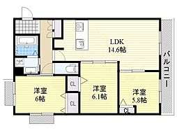 阪急千里線 千里山駅 徒歩3分の賃貸アパート 3階3LDKの間取り