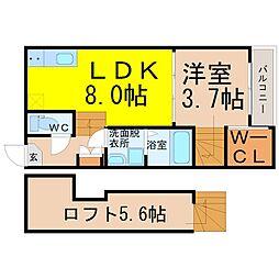 ハーモニーテラス八田(ハーモニーテラスハッタ)[2階]の間取り