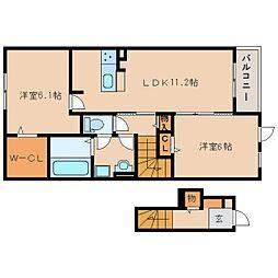 JR奈良線 棚倉駅 徒歩17分の賃貸アパート 2階2LDKの間取り