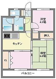 神奈川県横浜市鶴見区北寺尾7丁目の賃貸マンションの間取り