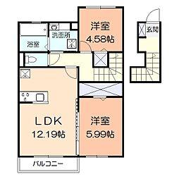 (仮)辻村アパート[206号室]の間取り