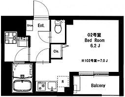 b'CASA Yokohama Tsurumi[402号室]の間取り
