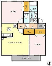 ル・クレ−ルやつえA[1階]の間取り