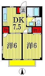 千葉県船橋市夏見台2丁目の賃貸アパートの間取り