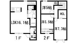 [テラスハウス] 兵庫県伊丹市中野東3丁目 の賃貸【兵庫県 / 伊丹市】の間取り