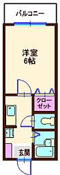 神奈川県横浜市神奈川区白楽の賃貸アパートの間取り