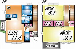 兵庫県神戸市東灘区本山北町6丁目の賃貸アパートの間取り