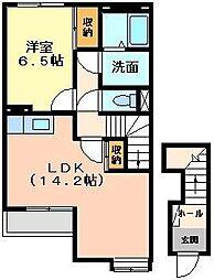 埼玉県川越市天沼新田の賃貸アパートの間取り