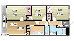 六甲桜ケ丘ハイツ[206号室]の間取り