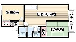 ラフォーレ霞ヶ丘[102号室]の間取り