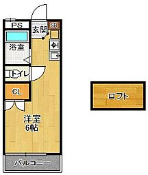 レオパレス夙川[206号室]の間取り