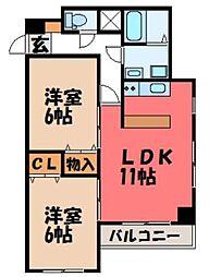栃木県宇都宮市下戸祭2丁目の賃貸マンションの間取り