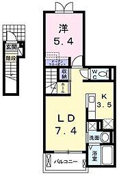 JR青梅線 小作駅 徒歩20分の賃貸アパート 2階1LDKの間取り