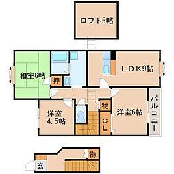 滋賀県栗東市綣9丁目の賃貸アパートの間取り
