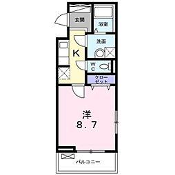 東武東上線 朝霞駅 徒歩10分の賃貸アパート 3階1Kの間取り