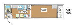 東京メトロ丸ノ内線 新宿御苑前駅 徒歩4分の賃貸マンション 5階1Kの間取り