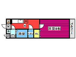 バス 川内亀岡下車 徒歩3分の賃貸マンション 2階1Kの間取り